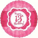 Perfectly Pink Happy 13th Birthday 18 Inch Foil Bal