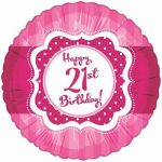 Perfectly Pink Happy 21st Birthday 18 Inch Foil Bal