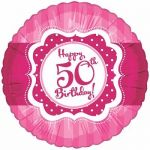 Perfectly Pink Happy 50th Birthday 18 Inch Foil Bal