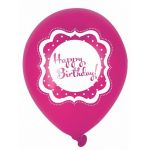  Perfectly Pink Happy Birthday 10 Inch Balloons (pack&nbsp;quantity&nbsp;6) 