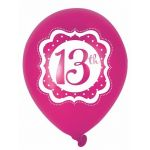  Perfectly Pink 13th Birthday 10 Inch Balloons (pack&nbsp;quantity&nbsp;6) 