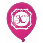 Perfectly Pink 30th Birthday 10 Inch Balloons (pack quantity 6)