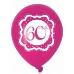 Perfectly Pink 60th Birthday 10 Inch Balloons (pack quantity 6)