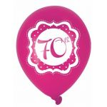 Perfectly Pink 70th Birthday 10 Inch Balloons (pack quantity 6)
