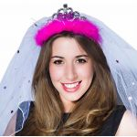 Bride To Be Hot Pink Tiara & Veil