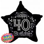 40th Holographic Black And Silver 22 Inch Foil Balloon