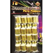Gold Holographic Party Poppers (pack quantity 16)