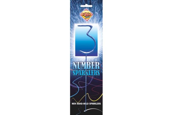 Number Sparkler 3 Blue