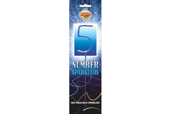 Number Sparkler 5 Blue