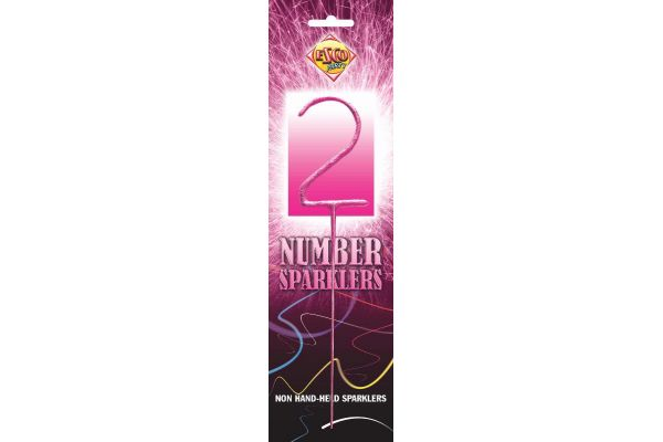 Number Sparkler 2 Pink