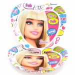 23cm Barbie Plates Heart Shape (pack quantity 8)