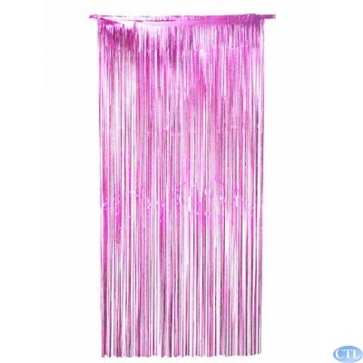 36x72 Inch Pink Foil Door Curtain