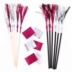  Pink & Silver Foil Pick & Straws (pack&nbsp;quantity&nbsp;36) 