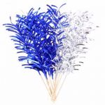 Blue & Silver Foil Maxi Spike Picks (pack quantity 12)