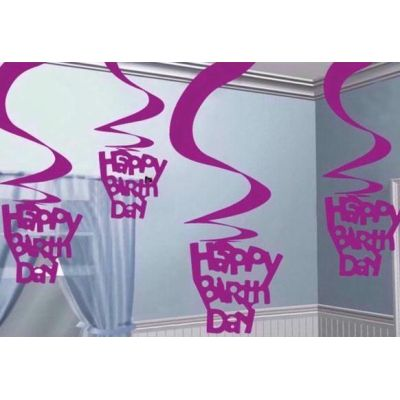 Pink Birthday Hanging Swirl Dec