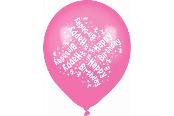 Birthday Pink Mix 11 Inch Balloons (pack quantity 8)