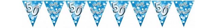 Sparkle Blue 50th Bunting