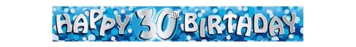 Sparkle Blue 30th 9ft Foil Banner