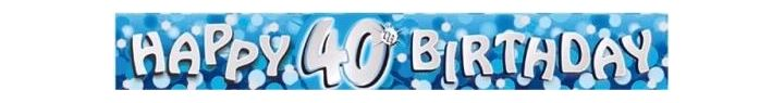 Sparkle Blue 40th 9ft Foil Banner