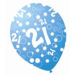  Sparkle Blue 12 Inch 21st Balloons (pack&nbsp;quantity&nbsp;6) 