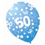 Sparkle Blue 12 Inch 50th Balloons (pack quantity 6)