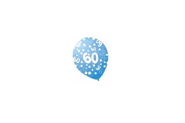 Sparkle Blue 12 Inch 60th Balloons (pack quantity 6)