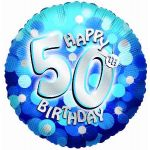 Sparkle Blue 50th 18 Inch Foil Balloon