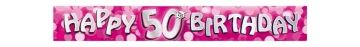 Sparkle Pink 50th 9ft Foil Banner