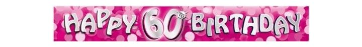 Sparkle Pink 60th 9ft Foil Banner