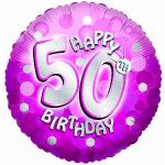 Sparkle Pink 50th 18 Inch Foil Balloon