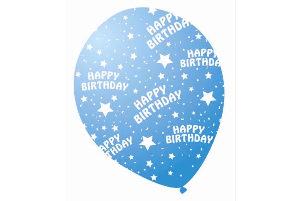 12 Inch Sparkle Blue Birthday Balloons (pack quantity 6)
