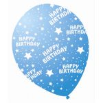  12 Inch Sparkle Blue Birthday Balloons (pack&nbsp;quantity&nbsp;6) 