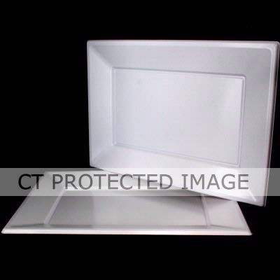 33x23cm White Rectangular Trays (pack quantity 3)