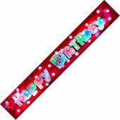87x14cm Flashing Happy Birthday Banner