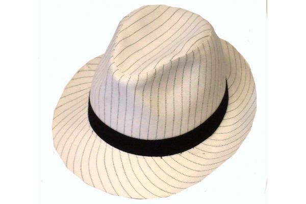 Hat Gangster White W/ Black Stripes/band
