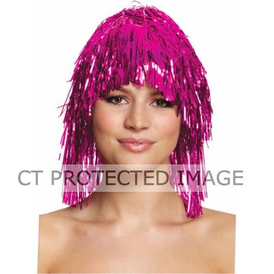 Hot Pink Tinsel Wig