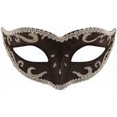 Black Eye Mask With Silver Trim