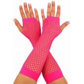 Pink Neon Fishnet Gloves