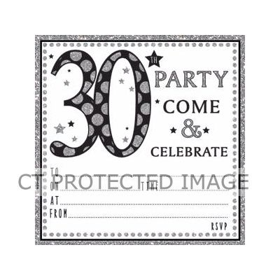 30th birthday invitations x6 for 30th birthday decoration packs