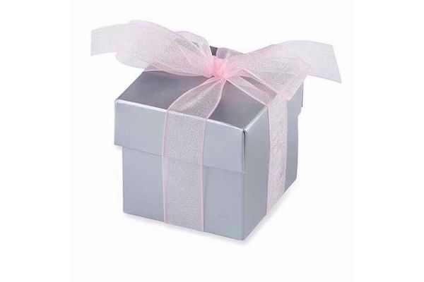 Silver Favour Box & Lid (pack quantity 10)