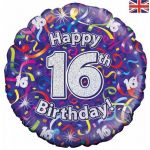 16th Birthday Streamers Holographic 18 Inch Foil