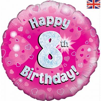 Happy 8th Birthday Pink 18 Inch Foil