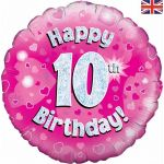 Happy 10th Birthday Pink 18 Inch Foil