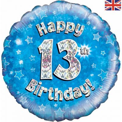 Happy 13th Birthday Blue 18 Inch Foil