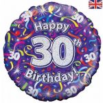 30th Birthday Streamers Holographic 18 Inch Foil