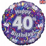 40th Birthday Streamers Holographic 18 Inch Foil