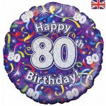 80th Birthday Streamers Holographic 18 Inch Foil