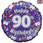 90th Birthday Streamers Holographic 18 Inch Foil