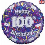 100th Birthday Streamers Holographic 18 Inch Foil