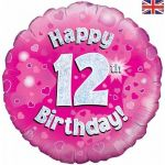 12th Birthday Pink Holographic 18 Inch Foil